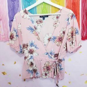 Boho Floral Tropical Side Tie Wrap Blouse Top